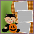 Stock Vector: Blank template for Halloween photo frame or postcard