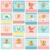 Collection of baby's postcards — Stock Vector