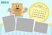 Baby's monthly calendar for 2011 — Stock Vector