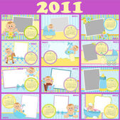 Baby monthly calendar for 2011 — Stock Vector