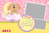 Baby's monthly calendar for february 2011's — Vector de stock