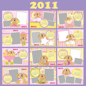 Baby's monthly calendar for 2011 — Stock Vector