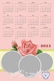 Bruiloft photo frame met kalender 2011 — Stockvector