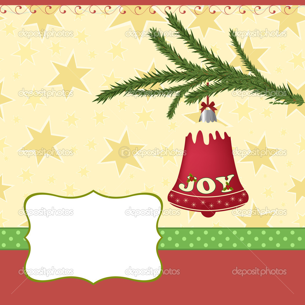 Blank template for Christmas greetings card, postcard or photo frame — Stock Vector #4267518