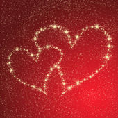 Heart of gold stars on a red background — Stock Photo