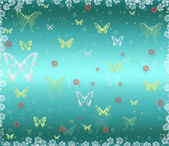 Blue background with butterflies and flowers — Stock Photo