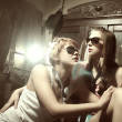 Two fashion sexy women  wearing sunglasses — Stok fotoğraf