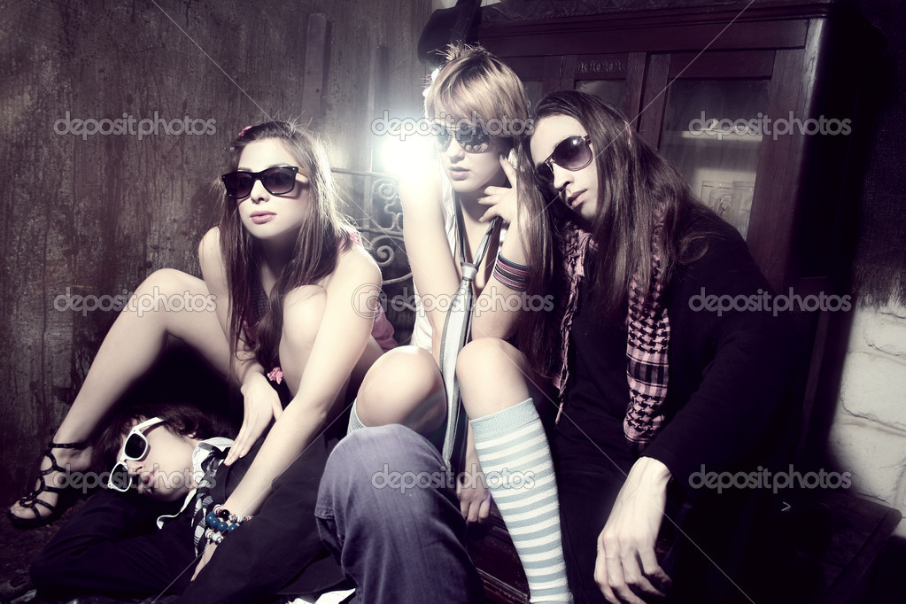 Happy student group of friends in party  — Stock Photo #5123628