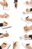 Collection hands with pen and writing on the page — Stockfoto