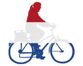 Holenderskie kobiety na rowerze — Zdjęcie stockowe