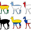 Guanaco flags — Stock Photo