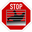 Stop sign caging of hen — Stock Photo
