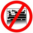 Prohibition sign caging of hen — Stock Photo