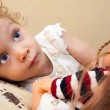 Little girl with doll — Stock Photo
