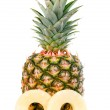 Ripe pineapple with slices isolated — Stock Photo