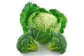 Ripe Broccoli and Savoy Cabbage Isolated — Stock Photo