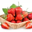 Basket of red strawberry fruits — Stock Photo