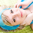 Portrait of glamour sexual girl in blue — Stock Photo