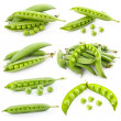 Set of ripe green pea in the pod isolated - Stock Photo