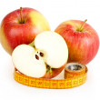Dieting concept with apple and measuring tape — Stock Photo