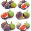 Set of Ripe sliced purple and green fig fruit isolated — Stock Photo #4967869
