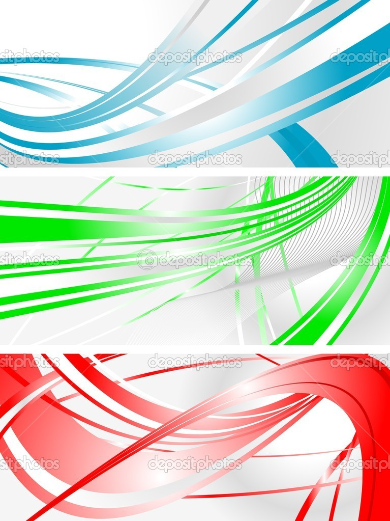 Set of abstract wavy banners  Stock Vector #4086479
