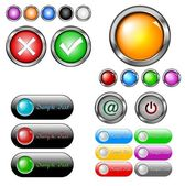 Glossy buttons collection — Stock Vector