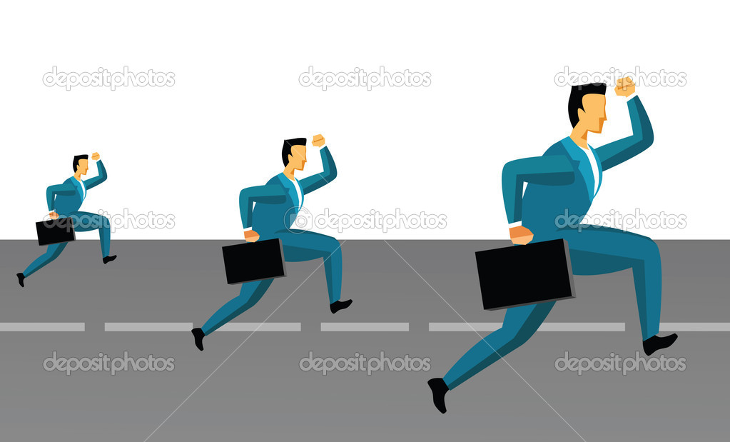 Three businessmen running on the road — Stock Photo #3939219