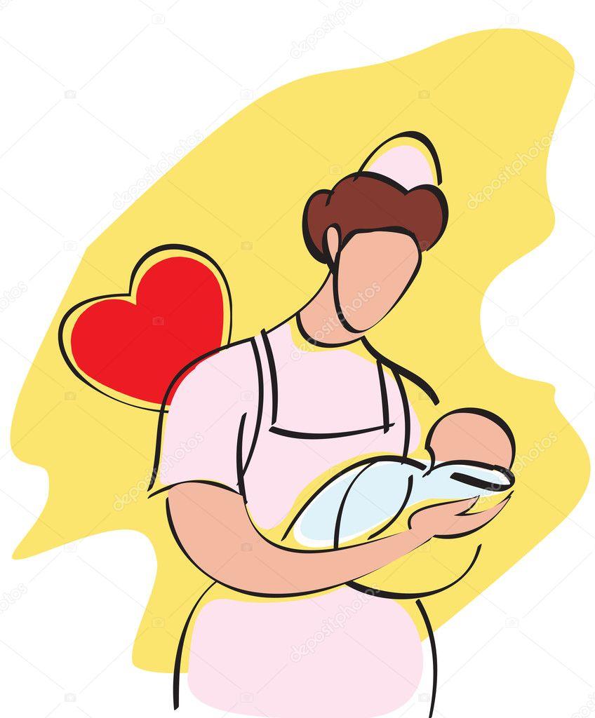 Baby nurse - Stock Image