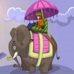 Постер, плакат: King style elephant ride