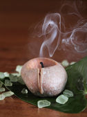 Spa setting with burning candle — Stock Photo