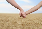 Young couple holding hands in the field — Stock Photo