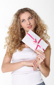 Girl with love letters — Stock Photo
