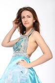 портрет романтический девушка в красивом платье — Стоковое фото