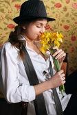 Portrait of the beautiful stylish brunette woman — Stock Photo