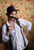 Beautiful girl with a cute mustache — Stock Photo