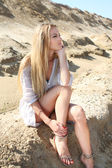 Beautiful blond girl in the summer day — Stock Photo