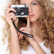 Portrait of girl with old camera — Stock Photo #5374824