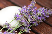 Bar of natural soap with lavender flowers — Stock Photo