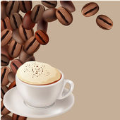 Coffee beans and cup of cappuccino — Stock Vector