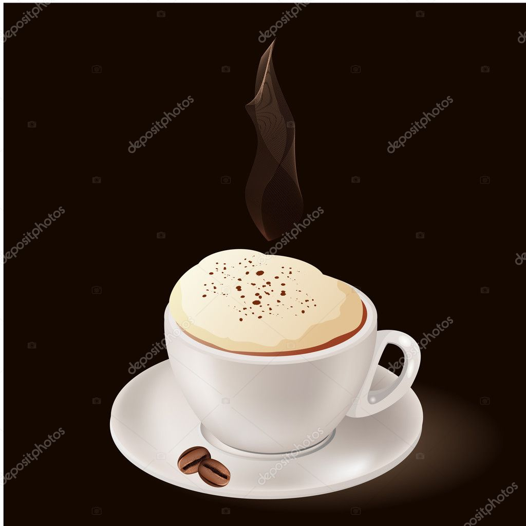 Cup of hot coffee with steam on black background  — Stock Vector #4410623