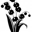 Stock Vector: Black and white lily of the valley