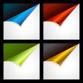 Set di quattro angoli di colore arricciati — Vettoriale Stock