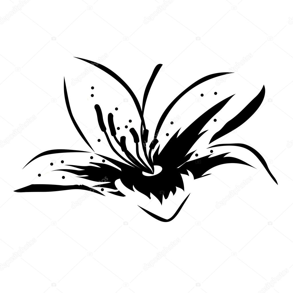 Black-and-white flower - Stock Illustration