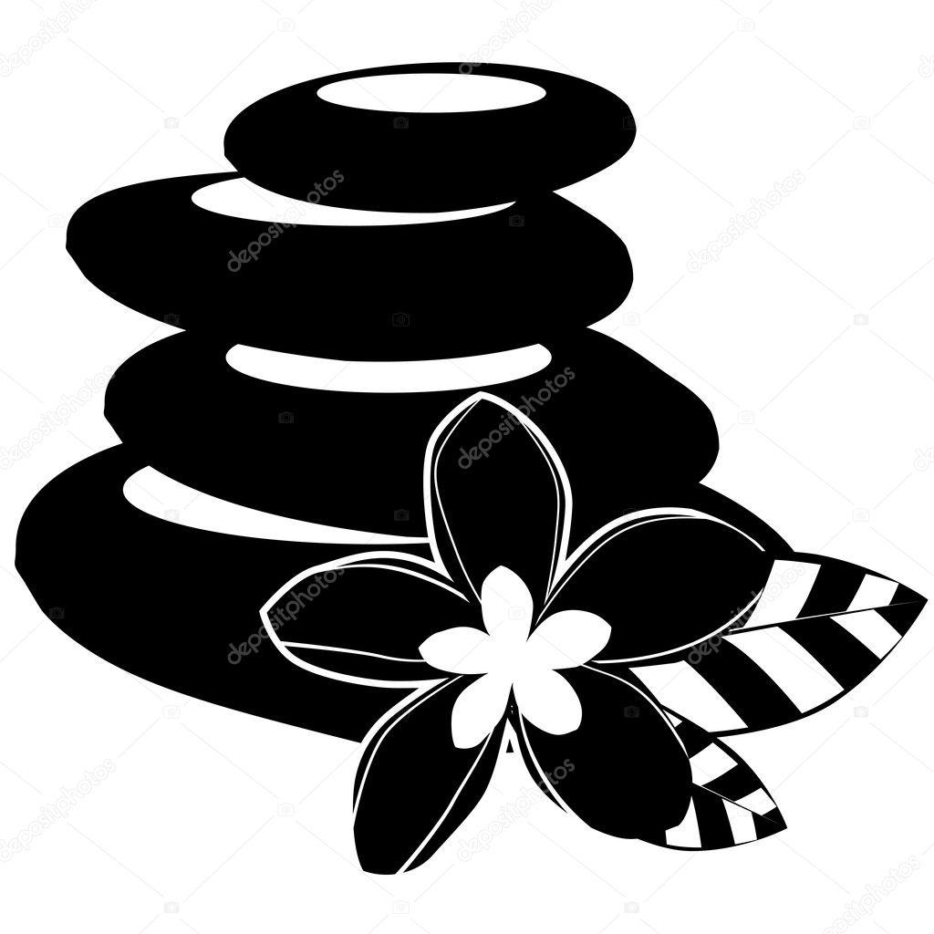 Zwart wit spa stenen en bloemen ge soleerd stockvector nurrka 4433465 - Deco salon zwart wit ...