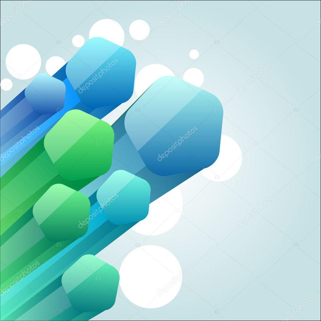 浅蓝色背景与抽象树三维形状 — 矢量图片作者 nurrka