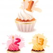 Collection of festive birthday cakes — Stock Vector