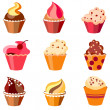 Colorful cupcake set - Stock Vector
