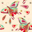 Seamless pattern with bright stylized butterflies - Stock Vector