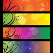 Vector de stock : Banners, headers with abstract lights.
